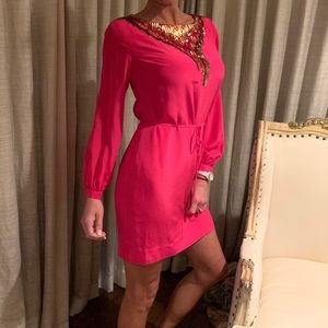 Trina Turk pink silk and sequined dress